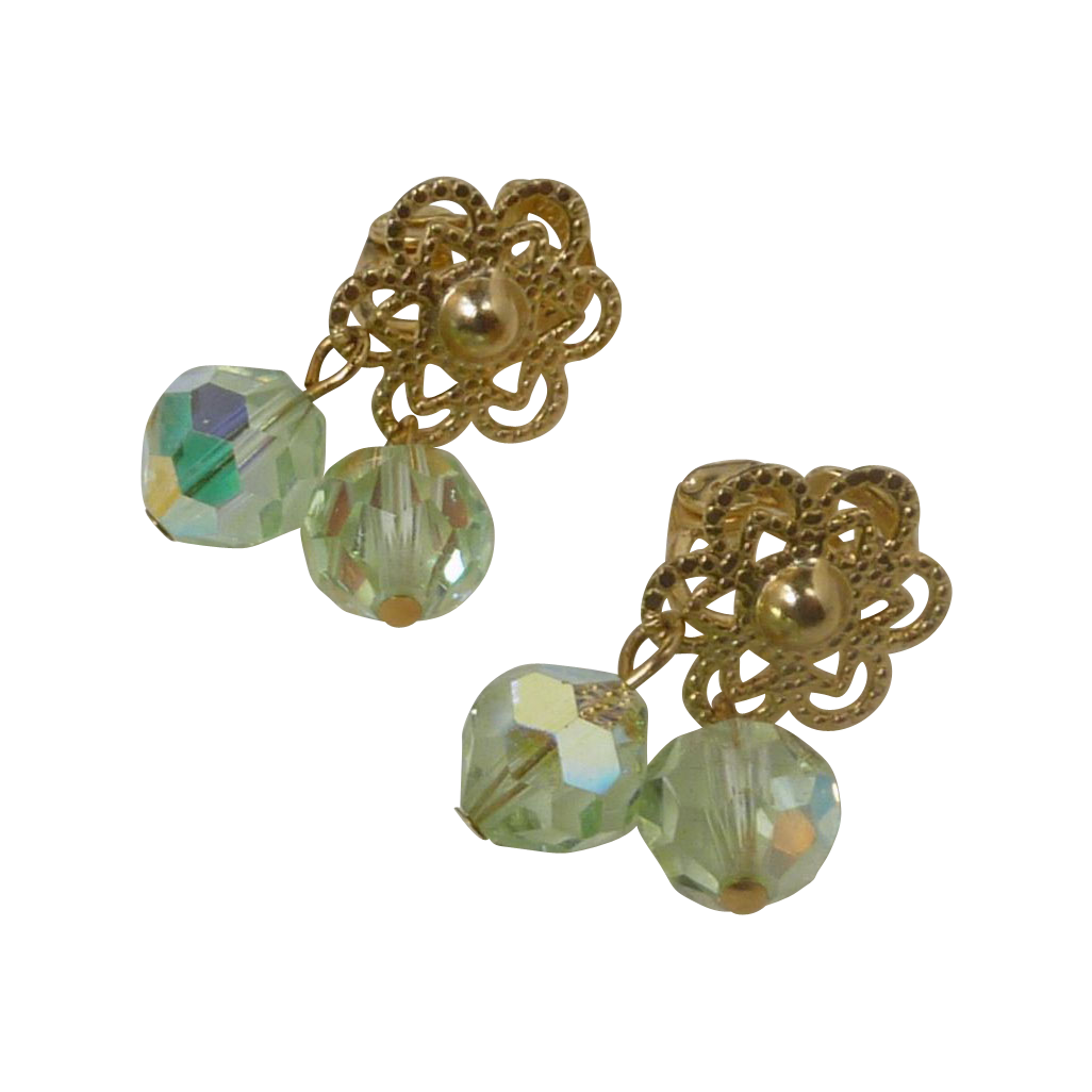 Light Green Small Glass Crystal Clip On Earrings