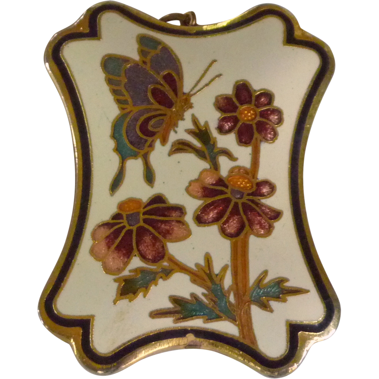 Cloisonné Pendant Necklace with Flowers and Butterfly Design