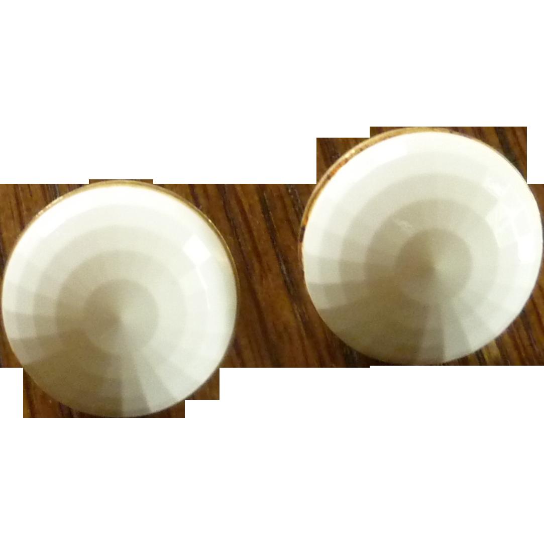 White Beaded Monet Earrings on Gold Tone Setting