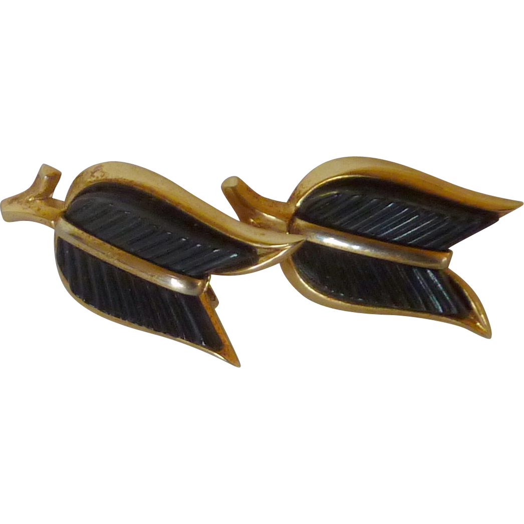 Black Lucite Crown Trifari Signature Clip on Earrings