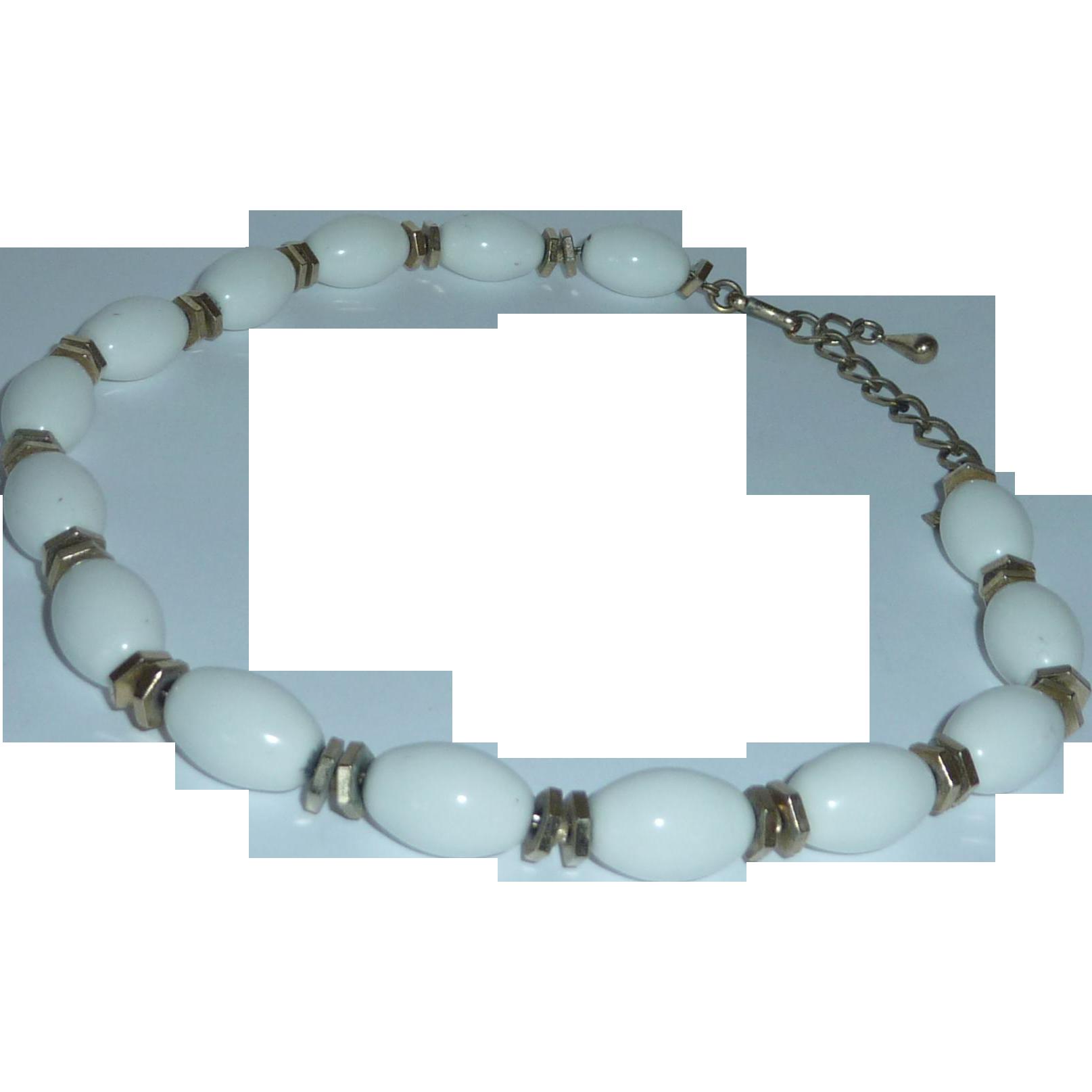White Monet Choker Necklace Gold Tone