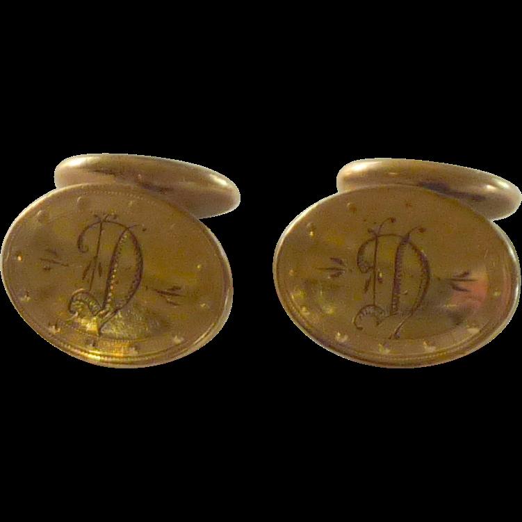 """Circa 1900 Etched Initial """"D"""" Cufflinks   Cuff Links"""