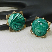 Large Green Marble Swirl Glass Cufflinks Cuff Links