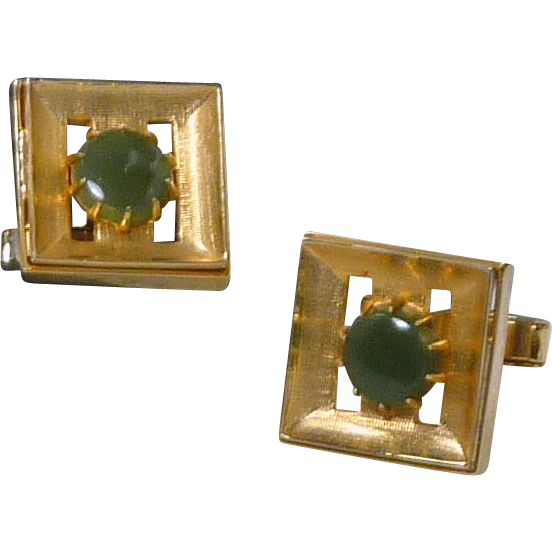 Square Brushed Gold Tone with Round Green Stone Cufflink Cuff Links