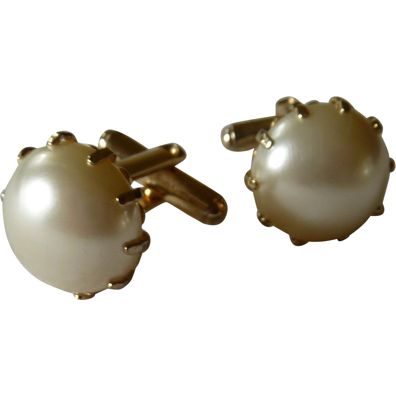 Faux Large Pearl in Gold Tone Setting Cufflinks Cuff Links