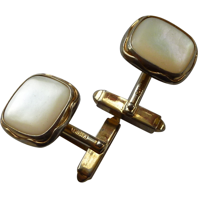 Mother of Pearl Gold Tone Square Cufflinks Cuff Links 1940's