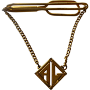 A L Initials 1930's Gold Tone Tie Bar with Chain