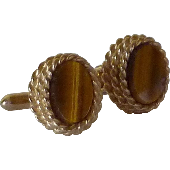 Gold Tone Tiger Eye Swank Cufflinks Cuff Links