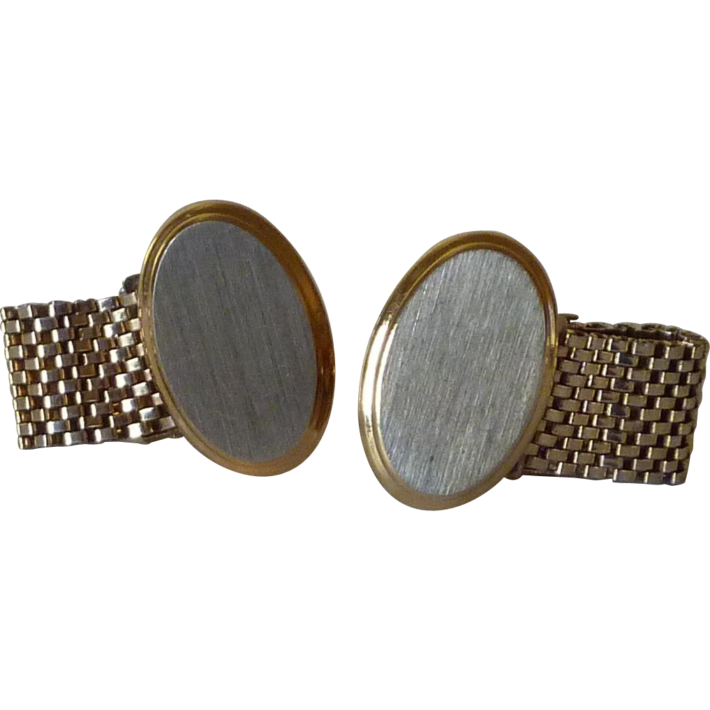 Gold Tone Brush Silver Tone Top Wrap Around Cufflinks Cuff Links