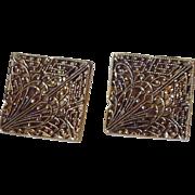 Gold Tone Filigree Large Cufflinks Cuff Links