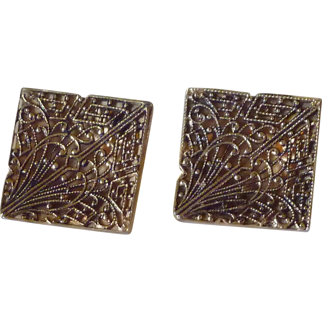 Gold Tone Filigree Large Cufflinks Cuff Links