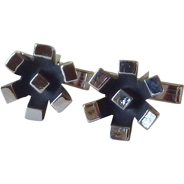 Silver Tone with Black Geometric Cufflinks Cuff Links