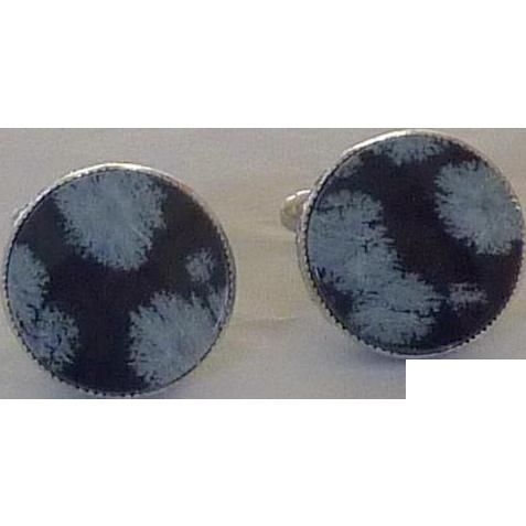 Snowflake Obsidian Silver Tone Cuff links Cufflinks