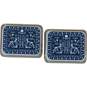 Blue Grey / White Egyptian Revival Cufflinks Cuff Links