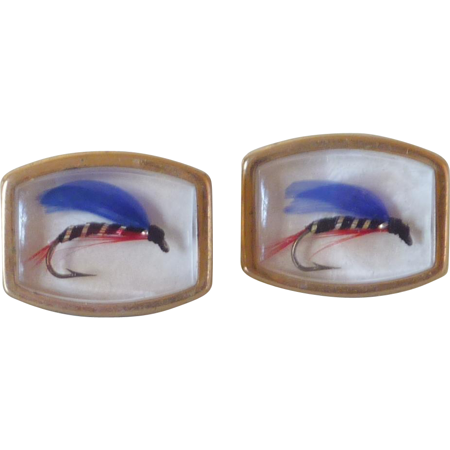 Fly Fishing Blue Lure Cuff Links Cufflinks