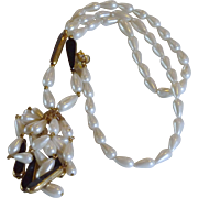 Vintage Tear Drop Faux Pearl Bead Tassel Necklace