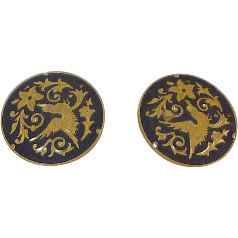 Damascene Bird and Floral Design Cuff Links Cufflinks