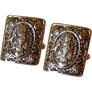 Pharaoh King Tut Shields Gold Tone Large Cuff Links Cufflinks