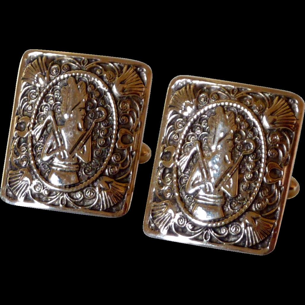 Pharaoh King Tut Shields Gold Tone Large Cuff Links Cufflinks