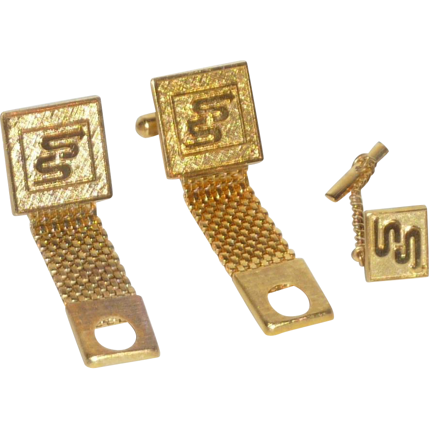S S Arrow Logo Gold Tone Wrap Around Cufflinks Cuff Links