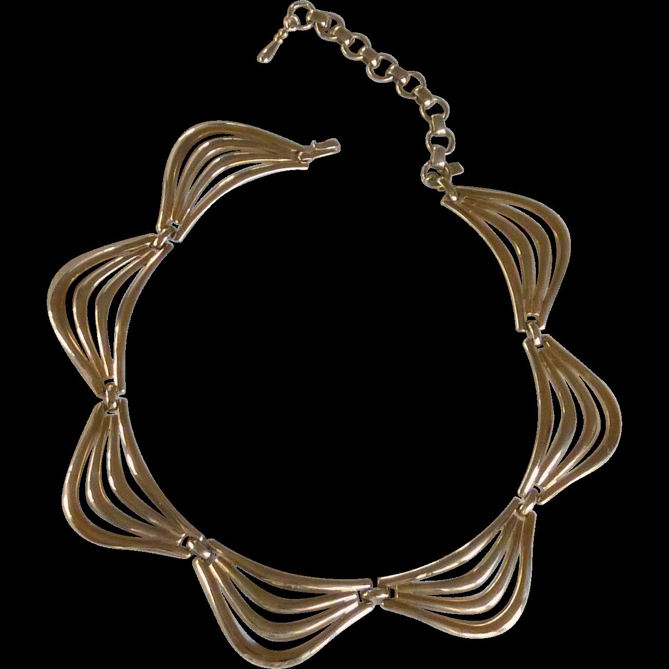 Monet Gold Tone Link Choker Necklace