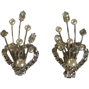 Vintage Rhinestone Diamonds & Faux Pearl Spray Silver Tone Clip on Earrings