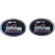 Enamel Train Steam Engine Cuff Links Cufflinks
