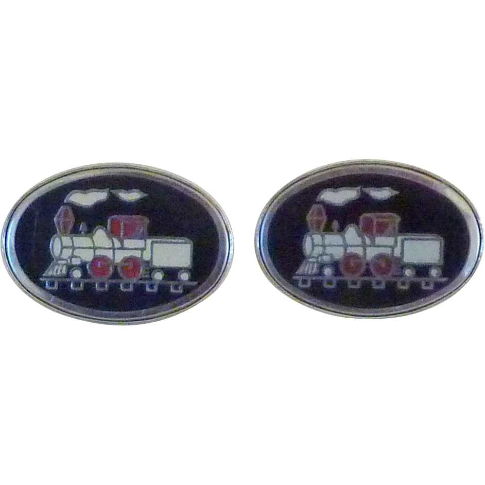 Enamel Train Steam Engine Cuff Links Cufflinks
