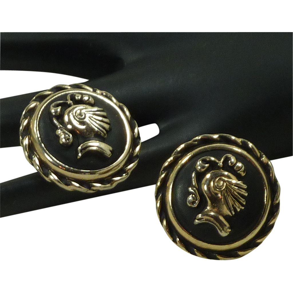 Large Round Roman Knight Head Armor Cufflinks Cuff Links