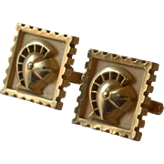 Anson Gold Tone Roman Knight Head Armor Cufflinks Cuff Links