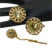 Peridot Light Green Glass Gold Tone Cuff Links Cufflinks