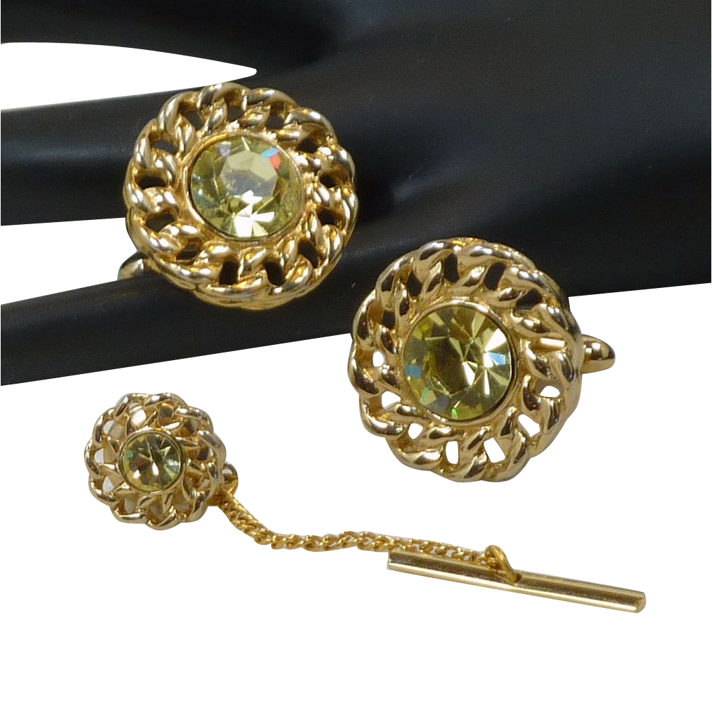 Peridot Light Green Glass Gold Tone Cuff Links Cufflinks