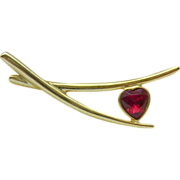 Faceted Red Heart Gold Tone Pin