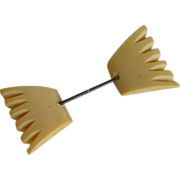 Faux Celluloid 1950's Jabot Double Sided Hat Stick Pin