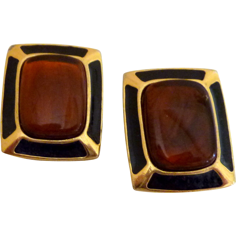 Trifari Black / Brown Clip  Earrings