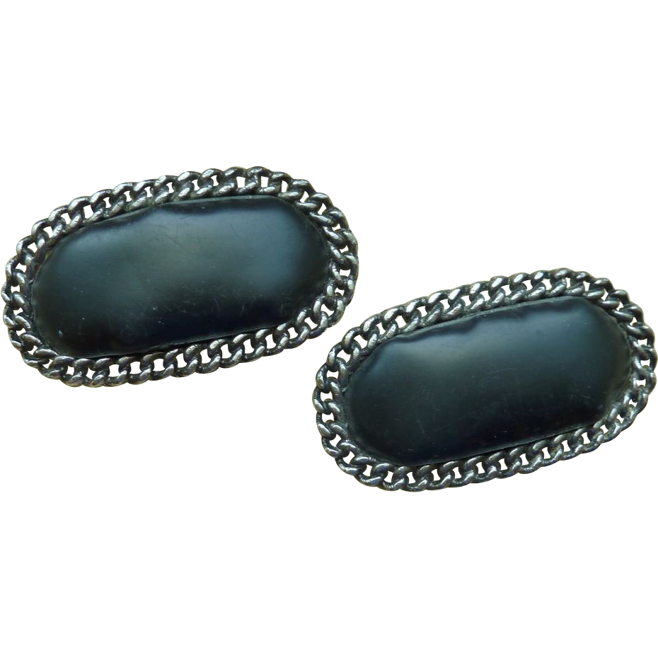 Large Black Shoe Clips Silver Tone Setting