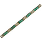 C & H Sterling Silver Emerald Green Bar Pin