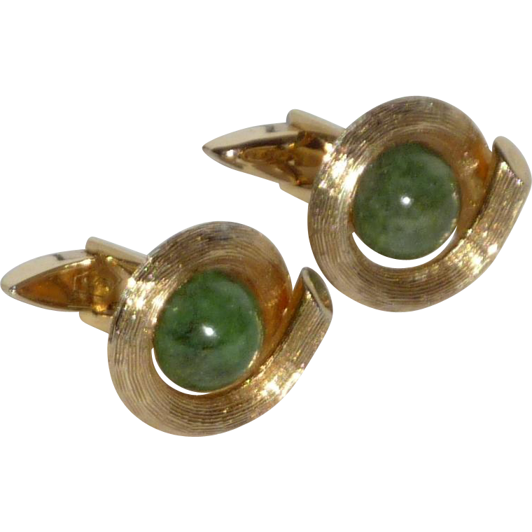 Green Jade Stone Gold Tone Cufflinks Cuff Links