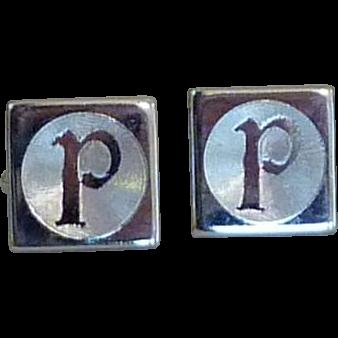Silver Tone Initial 'P' Cufflinks Cuff Links