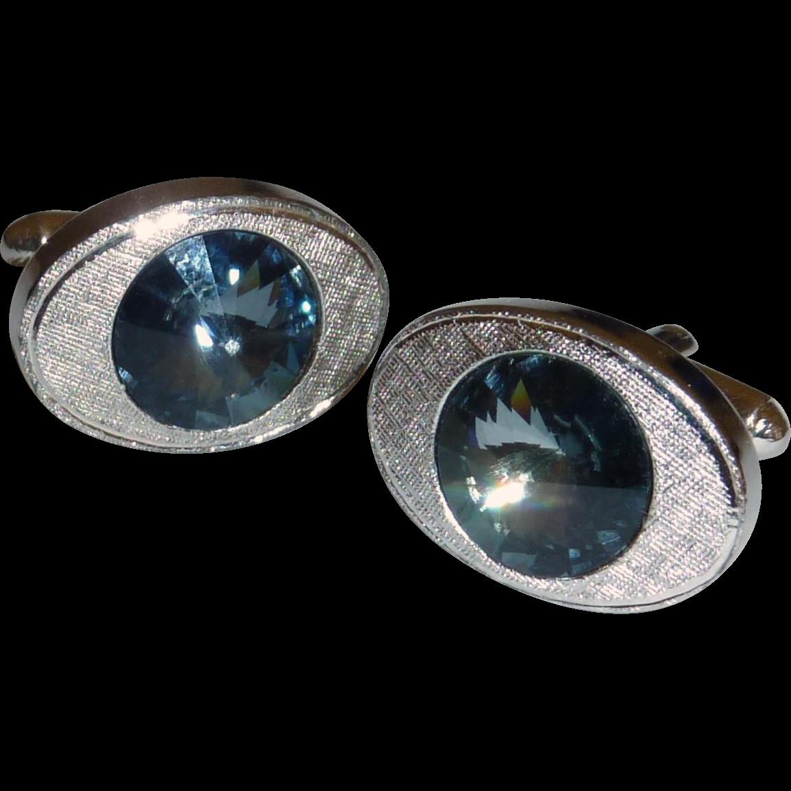 Shields Silver Tone Blue Glass Cufflinks Cuff Links