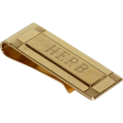Gold Tone Monogram Herb Money Clip