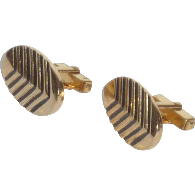 Gold Tone Chevron Pattern Cufflinks Cuff Links