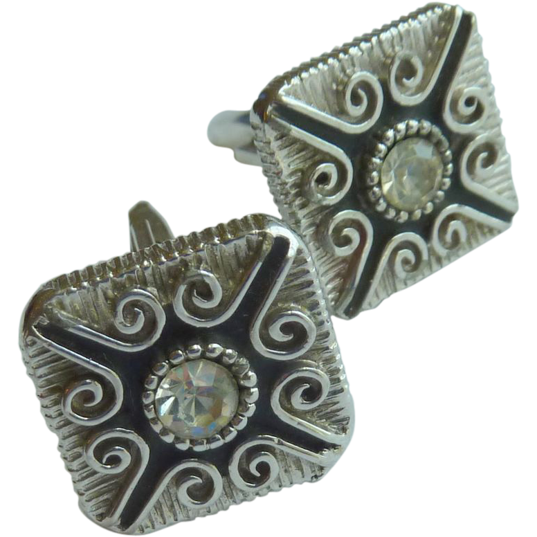 Silver Toned White Diamond Rhinestone Cufflinks Cuff Links