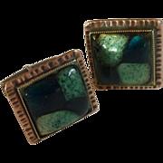 Copper Square Green Glass Cuff Links Cufflinks