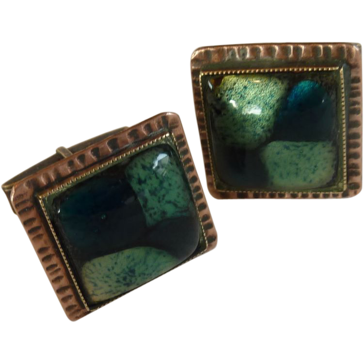 Copper Square Green Glass Cuff Links Cufflinks