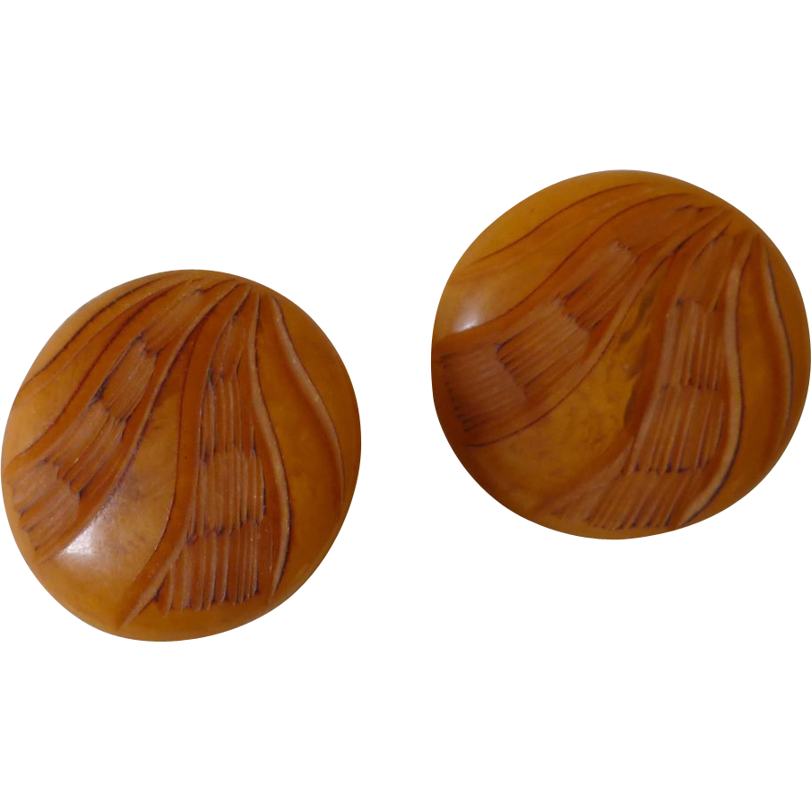 Butterscotch Plastic 1950 Mid Century Clip On Earrings