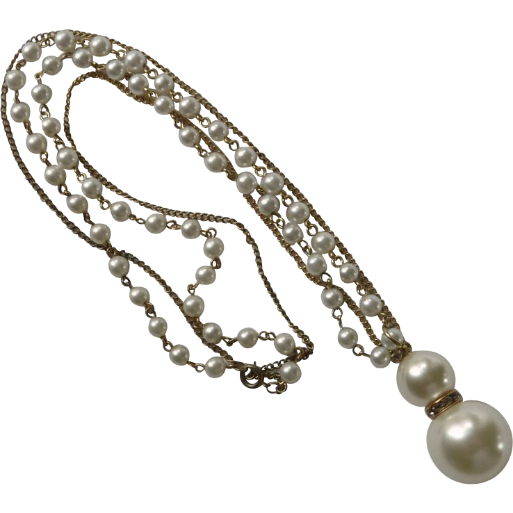 Double Pearl Drop 2 Chain Necklace 1960s