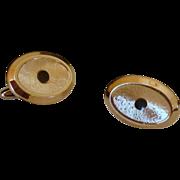 Brushed Gold Tone Oval Cufflinks Cuff Links