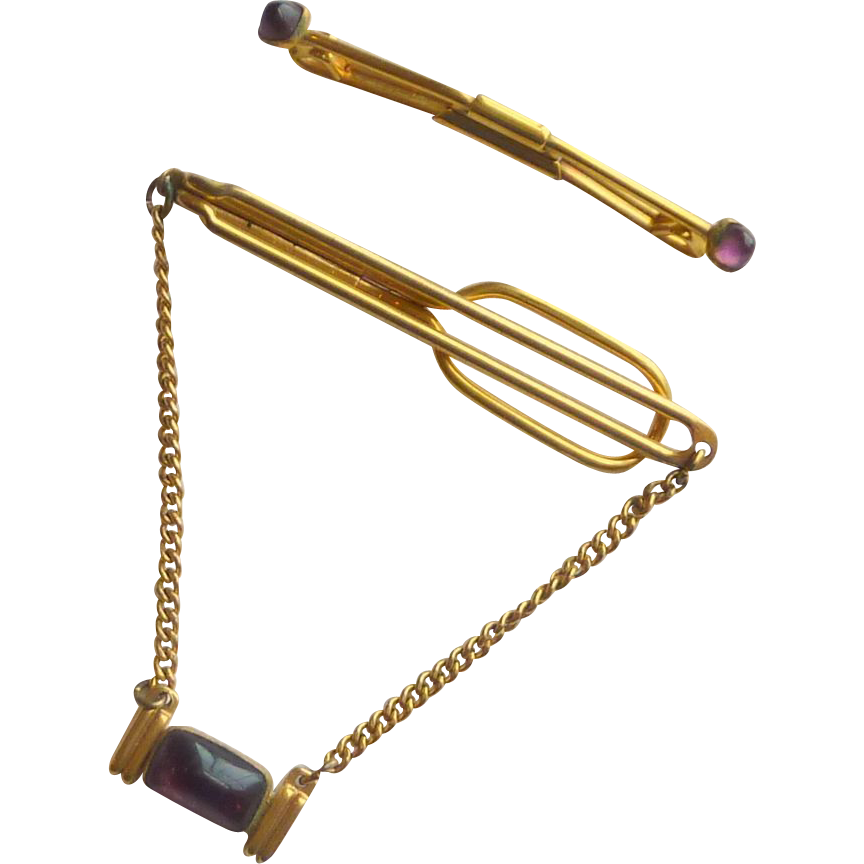 Swank Chain  Tie Bar and Collar Pin Stay with Purple Glass