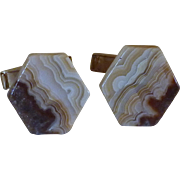 Banded Brown Agate Cufflinks Cuff Links